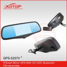 5 inch DVR + GPS + Mirrors touch screen car rear mirror gps dvr