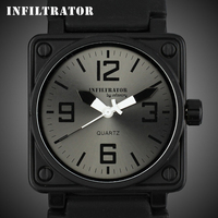 INFANTRY Hot Sell All Black Men's Quartz Outdoor Silicone Watch