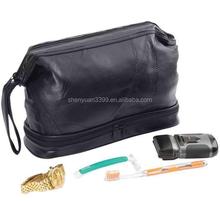 Black Genuine Leather Men's Toiletry Bag / Makeup Case