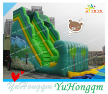 china manufacturing best selling big green inflatable dry water beach slide for kids and adults