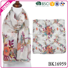 TOROS low MOQ flower print polyester lady scarf