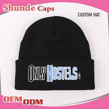 Slouchy Beanies With Top Ball/Custom Knitted Beanies With Embroidered Logo