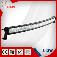 Cheap price 55 inch 312w curved 4x4 led light bar for offroad ATV truck boat snowmobile