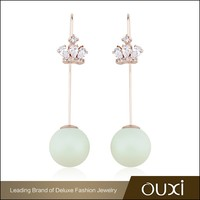OUXI new design rose gold plated Bead&Zircon wedding earrings for wholesale 21371-2