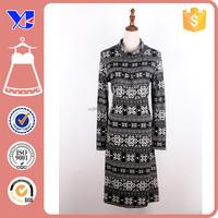 95% polyester 5% spandex winter printed wool maxi caftan dress
