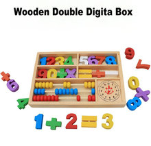 Wooden Double Digital Box Building Blcok Toy For Kids
