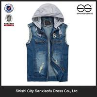 Custom Light Weight Fashion Hoodie Wholesale Hot Men Jean Vest