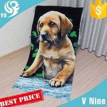 2015 100% cotton dog animal printed beach towel