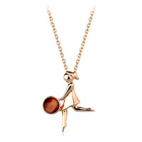LIttle girl play basketball pendant jewelry with thin chain, red opal girls necklace