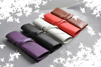 Vintage Retro Luxury Roll Leather Make Up Cosmetic Pen Pencil Case Pouch Purse Bags for School
