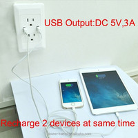 220v receptacle outlets 2usb 2 gang wall socket