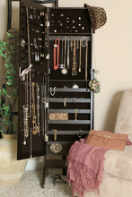 elegant antique black free standing jewelry dresser from Professional factory Supply
