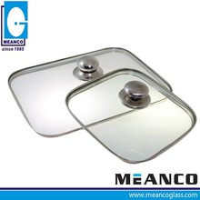 Guangdong Square Shape Dome Toughened Glass Milk Pot Lid with Stainless Steel Ring