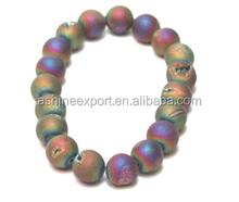 Trendy gray quartz beads elastic bracelet, quartz beads bracelet, ural stone stretch bracelets