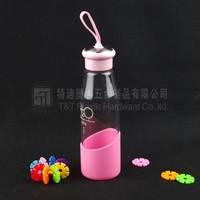 Pink glass water bottle with different size,Portable drink bottle with silicone sleeve
