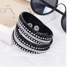 hot new product 2015 leather crystal bracelet