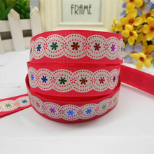 The same picture of flower ink screen print grosgrain ribbon webbing tape with different solid grosgrain ribbon printing