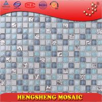 Colorful 15*15mm crystal glass blends natural stone mosaic wall stickers home decor