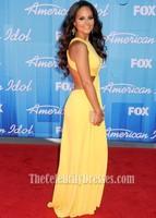 Celebrity Yellow Backless Evening Dress American Idol Season 11 Grand Finale Show