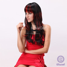 Crazy Red color high temperature resistance lace wig 100% Kanekalon hairpiece