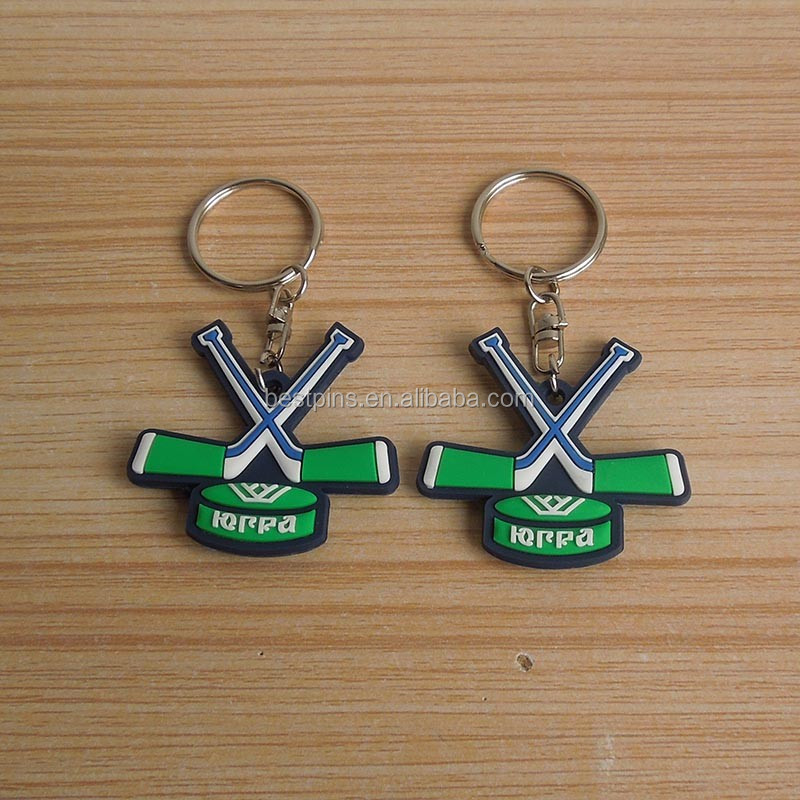 Sports Everts Souvenirs Eco-friendly 3D Soft PVC Hockey Ball Keychain