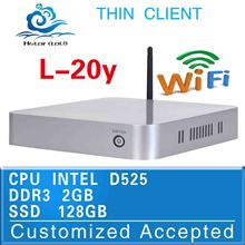 In stock low price thin client l-20y mini desktop D525 Atom dual core fan pc 2G ram 128G ssd support win7 linux windows xp wifi