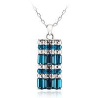 Splendid Best Friend Long Necklace, Blue Crystal Necklace