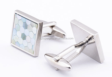 square metal cuff links with epoxy logo stickers