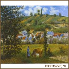 Monet copy rural field scenery oil painting on canvas