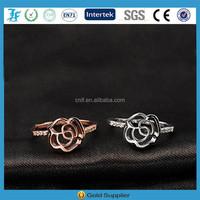 fashion rose shape with crystal rhinestones finger ring