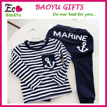Spring Kids Clothes, Navy Long Sleeve Pullover Striped Sports Suit, Casual Children Boys Clothing Set Clothes Kids Wholesale