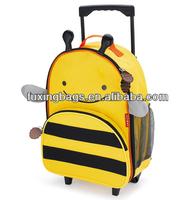 Cute kids animal school trolley bag with wheels
