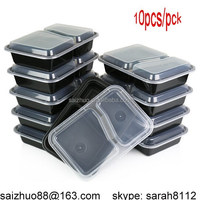 2 Compartment Microwave Safe 1000ml disposable plastic Food Container with Lid/Divided Plate/Lunch Tray with Cover, 10 Pack