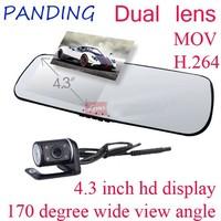 Dual Lens 4.3 Inch LCD HD 1080p Shenzhen car dvr, Reverse Camera Rear View Mirror Car DVR
