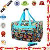 Fashion pattern printing polyester weekend travel bag for girls