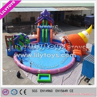 Popular outdoor 0.55mm pvc inflatable water park/giant inflatable slide with pool