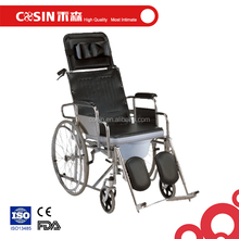 Folding all terrain manual wheelchair with commode