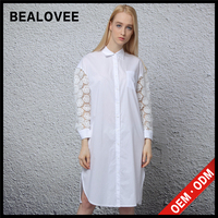 2015 fashion white long latest cotton shirt dress sexy women lace designs african fashion dresses