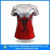 Latest design all over sublimation printed mini t shirt women