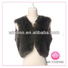 sleeveless women knitted rabbit fur vest