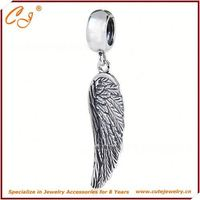 10mm Hole Silver Accessory, Angel Wing Shape Silver Charm