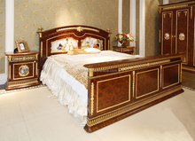 French Baroque King Size Gilt Brass Mounted Bed/ Porcelain Decorated Headboard Fancy Bed/ Mahogany Veneer Bedroom Furniture