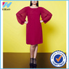 Yihao 2015 new fashion ladies western pleat long sleeve shift dress designs