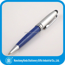 promotional blue metal ball pen with pu leather holder