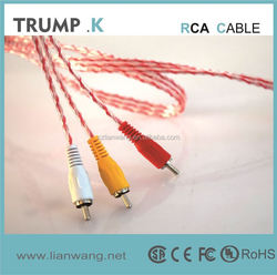 2015 high quality 5.0mm gold plated 3 rca to 3 rca audio video cable