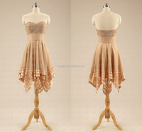 2015 Shinny Beads Colored Champagne Sweetheart Sleeveless Short Prom Dresses Causaul Gown Summer F&MG21