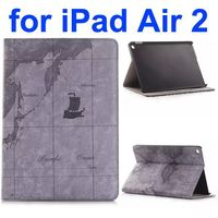 Map Design Retro Pattern Flip Leather Case Smart Cover for iPad Air 2