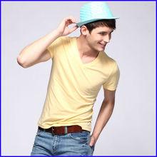 2014 fashion cotton t shirts,wholesale plain white v neck t shirts