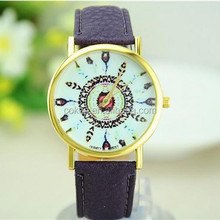 2015 new fashion Lady Peacock feather belt wrist watch quartz alibaba foreign trade watches wholesale