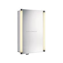 Single Door Bathroom Aluminium Mirror Medicine Cabinet LED Light Glass Shelf Soft Closing